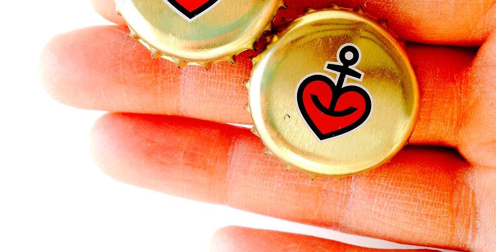 Boucles CLIPS, ancrée, capsule de bière coeur rouge doré ancre marine