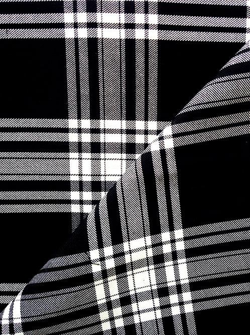 TARTAN écossais, noir et blanc coupon de 149 x 163 cm