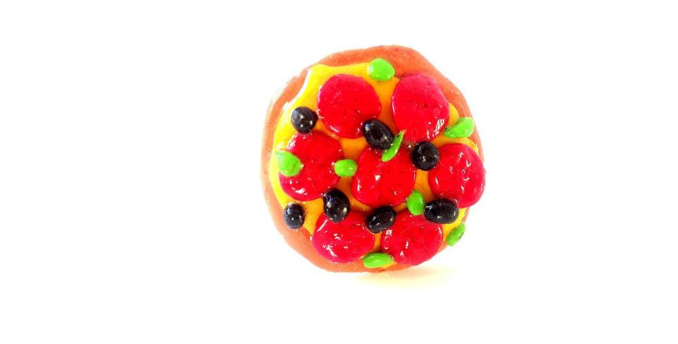Bague LA PIZZA, miniature, tarte tomate olives