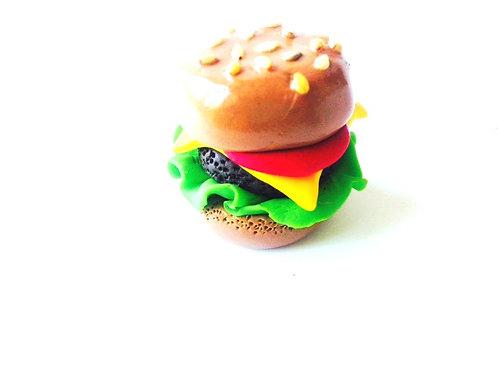 Hamburger miniature, pâte polymère, gros modèle