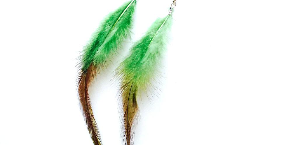 Boucles d'oreilles PARAISO, longues plumes vertes