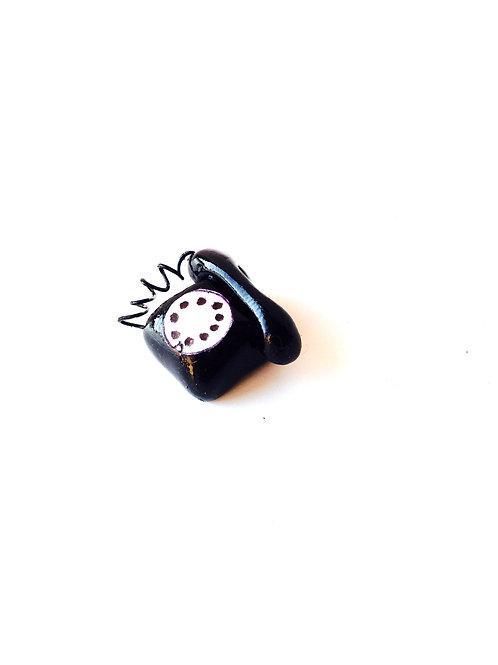 Téléphone miniature, fabriqué main, version noire