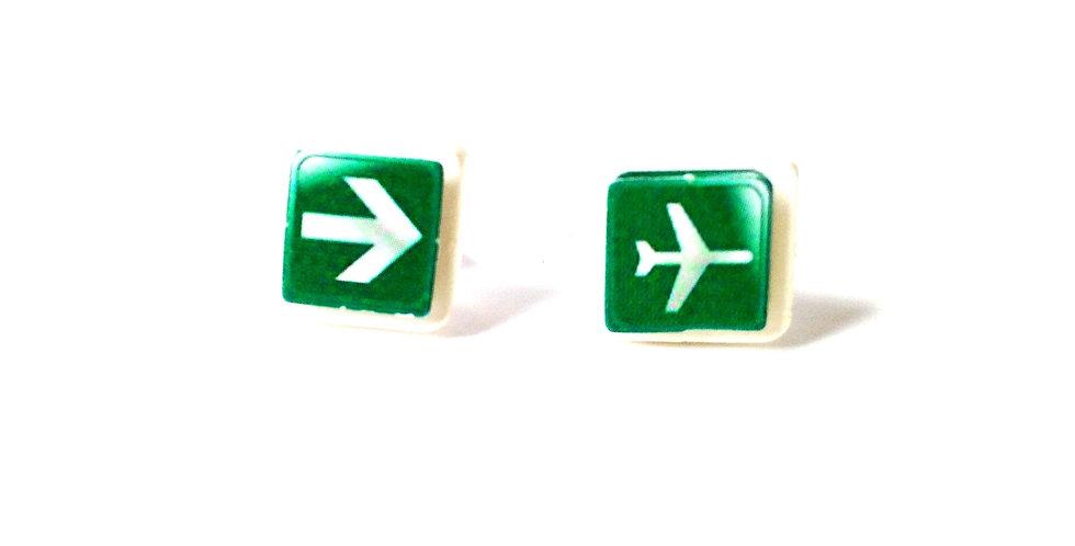 Puces d'oreilles PARÉE AU DÉCOLLAGE, vertes, carrées