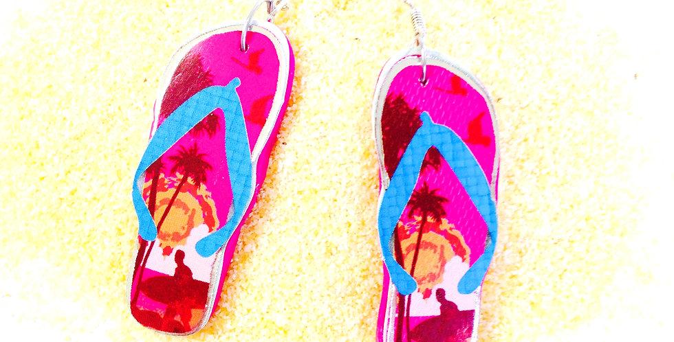 Boucles d'oreilles LA TONG HAWAIIENNE, tongs miniatures, fuchsia
