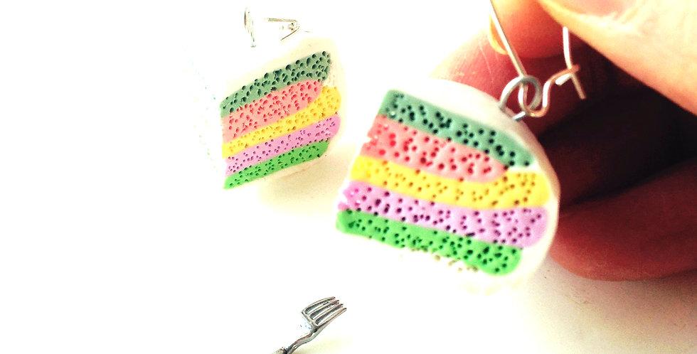 Boucles d'oreilles LE CAKE LICORNE, parts de rainbow cake miniatures