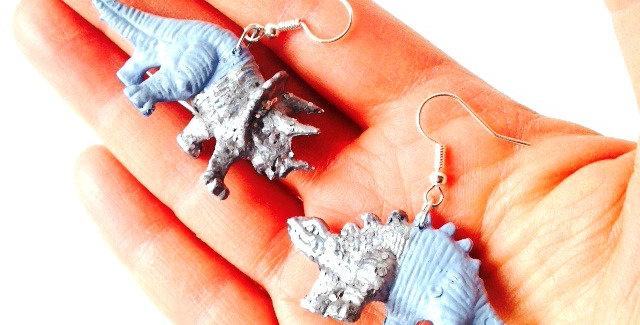 Boucles d'oreilles LES MINOSAURES, bleus, calendrier de l'avent N°4