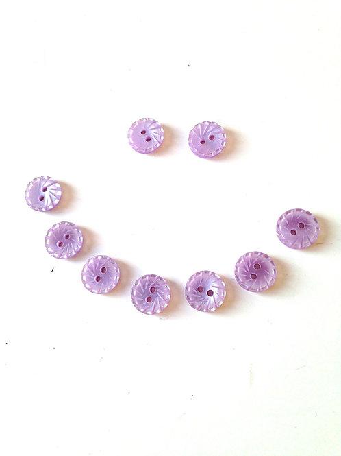 Lot de 9 mini boutons vintage fantaisie, couleur parme / lilas ou mauve