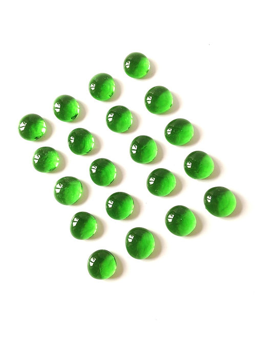 Lot de 20 pierres en verre vertes, cabochons