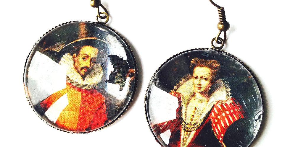 Boucles d'oreilles COUPLE DE LA RENAISSANCE, cabochon en verre, bronze