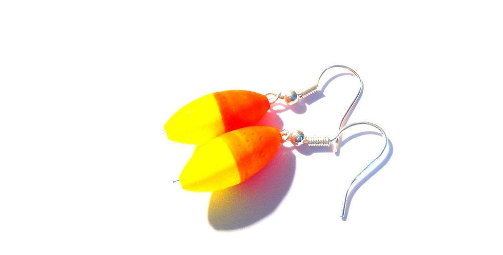 Boucles GRAINS fluo, orange et jaune fluo