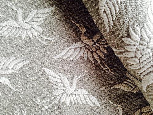 Tissu -- Bande de tissu, chute, gris / blanc japonisant avec hérons
