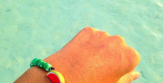 Bracelet MADAME PASTÈQUE, perles céramiques
