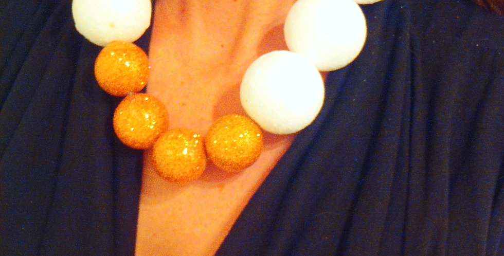 Collier OVERSIZE, blanc et or