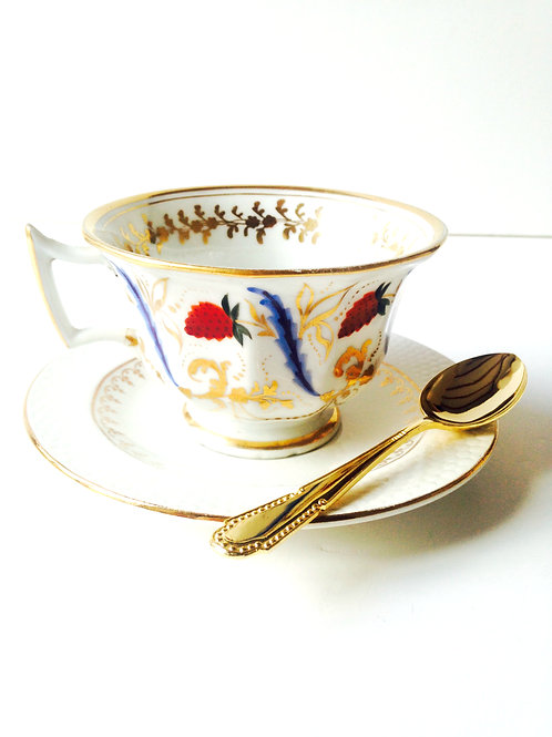 Tasse -- Belle tasse ancienne ensemble petit déjeuner tasse vintage
