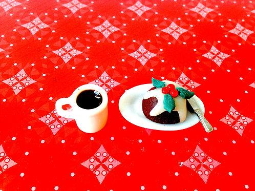 Christmas Pudding Miniature, sur plat ovale, avec petit couteau argenté