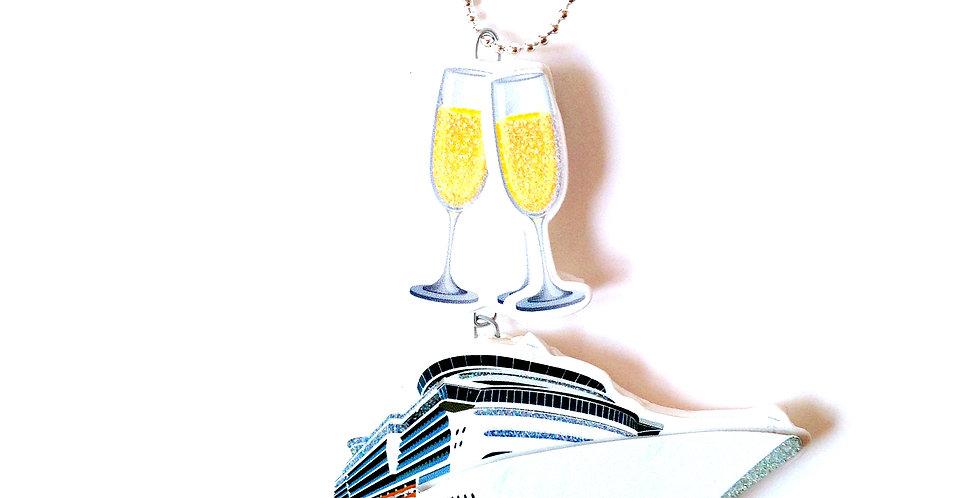 Sautoir CROISIÈRE DE LUXE, paquebot et champagne