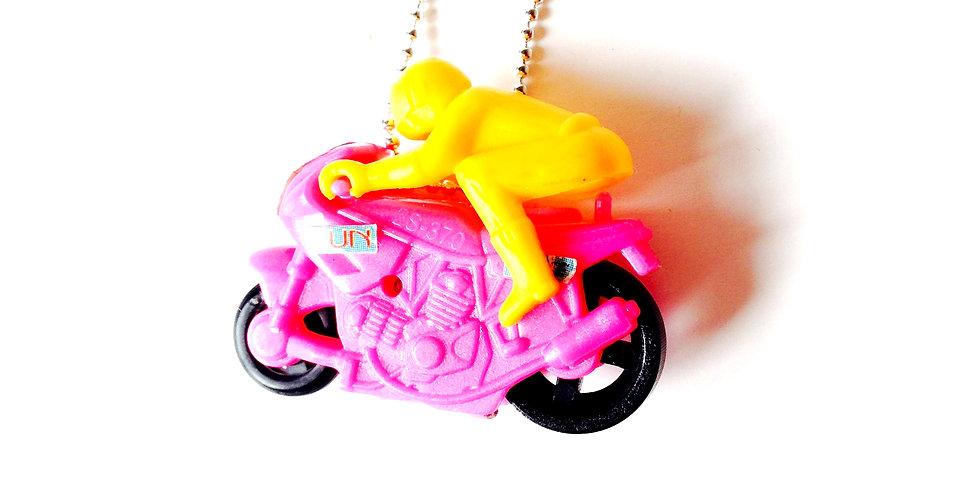 Sautoir I LOVE LA MOTO, motard miniature