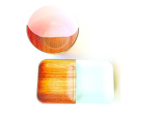 Coupelles plastiques imitation bois, restylées, PASTEL NATURE menthe et rose