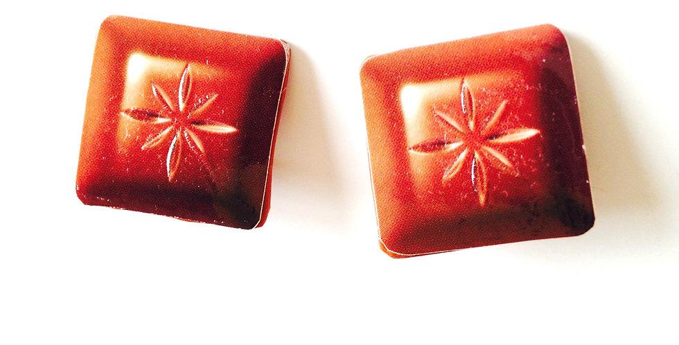 Boucles d'oreilles CLIPS, CARRÉS DE CHOCOLAT