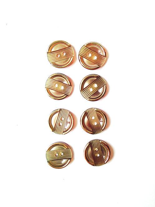 Lot de 8 boutons ronds en résine, taille 1.1 cm, kaki avec bords dorés