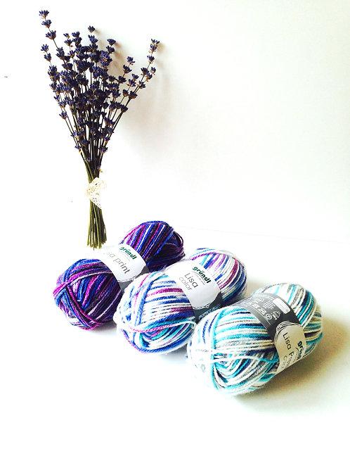 Lot de laine, les Lavandines, 3 pelotes laine chinée tons bleus, blanc, violet