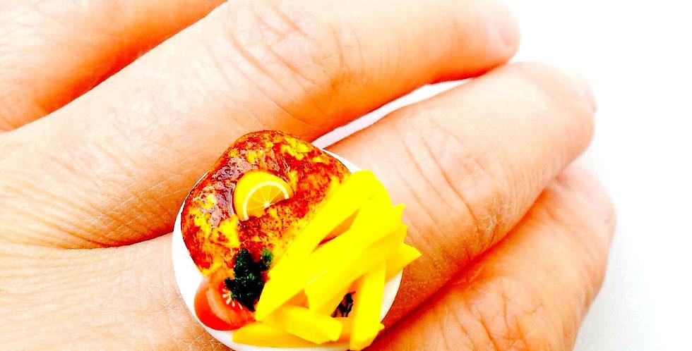 Bague LE P'TIT CORDON BLEU, frites, miniatures par The Sausage