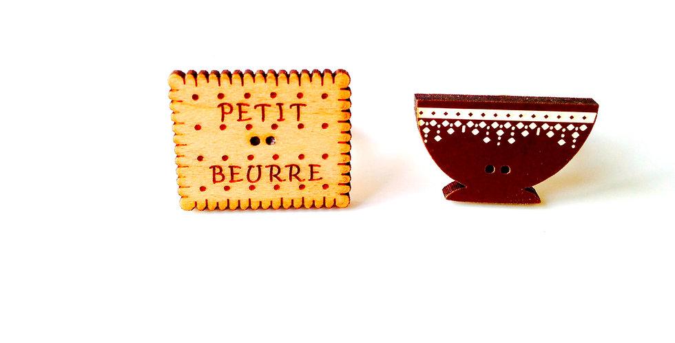 Bague double LE PETIT BEURRE A TREMPER, bois, marron