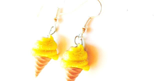 Boucles d'oreilles Les Glacettes-- CITRON boutons en résine, paillettes