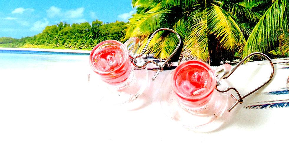 Boucles d'oreilles PLAGE ET MOJITOS FRAISE, boisson miniature, verre transparent