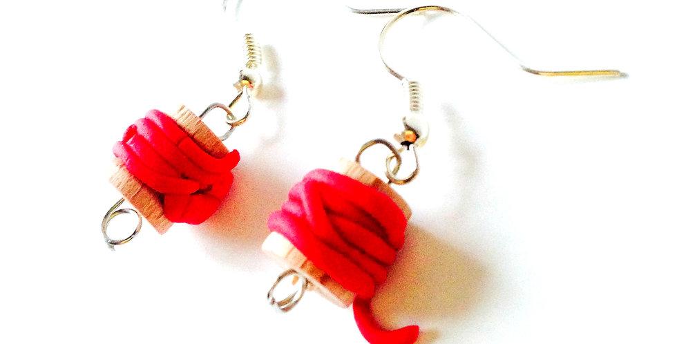 Boucles d'oreilles LES BOBINETTES, rouges
