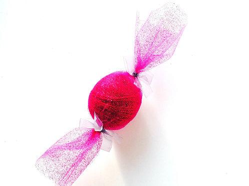 Bonbon de laine Coton + tulle rose + ruban pailleté à utiliser