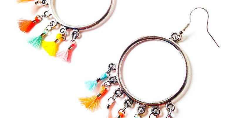Boucles d'oreilles VACANCES GÉNIALES pompons miniatures fluo