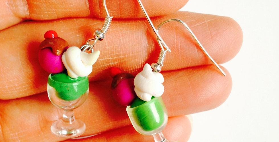 Boucles d'oreilles GLACES CHANTILLY, coupes miniatures par saucisse