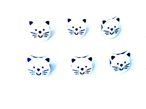 Boutons, lots de 6 petits boutons tête de chat, neufs, crochet au dos