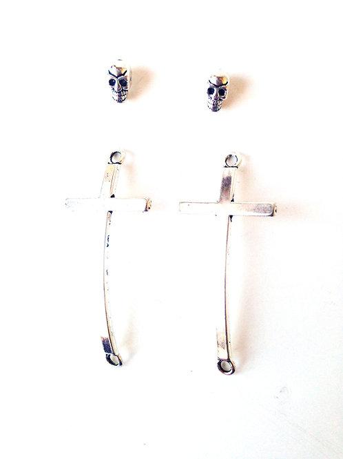 Breloques - Ensemble 2 croix courbes et 2 perles tête de mort, argentées
