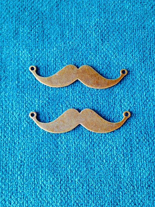 Connecteurs bronze forme moustache, lot de 2, 5 cm environ