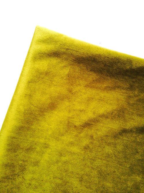 Tissu - Chute de velours de viscose, très fin et souple vert doré
