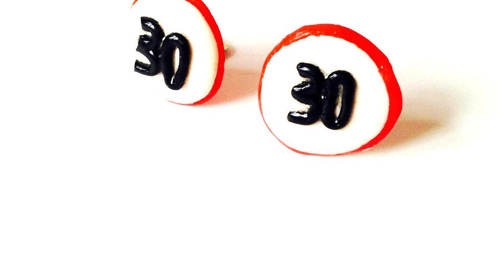 Boucles d'oreilles clips, SLOW DOWN, panneau de signalisation