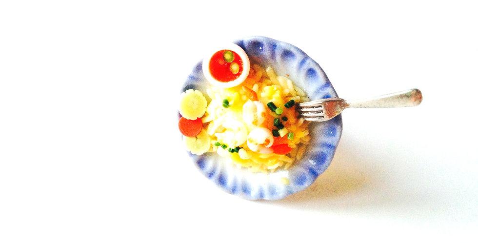 Bague LE RESTAU THAI, plat miniature crevettes et riz miniature