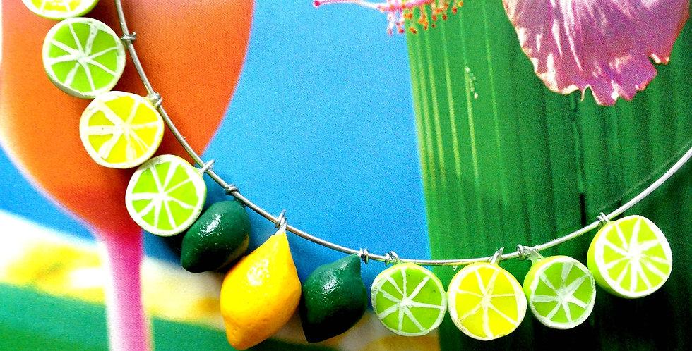 Collier ras du cou CITRON, CITRON VERT, fruits miniatures