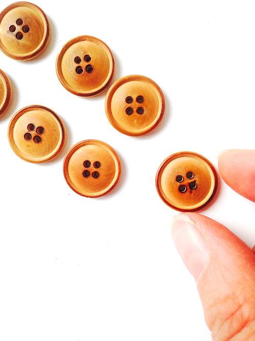 Lot de 7 boutons ronds en bois, taille 1,5 cm.