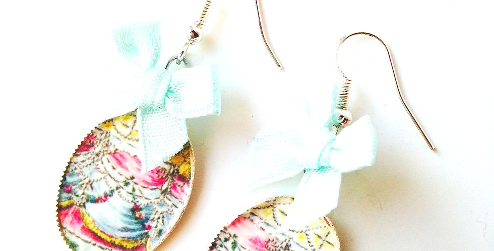 Boucles d'oreilles CHANTILLY, rose, noeud menthe robe de Versailles