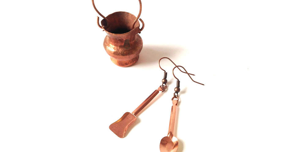 Boucles d'oreilles PÂQUES AUX TISONS, miniatures cuivrées