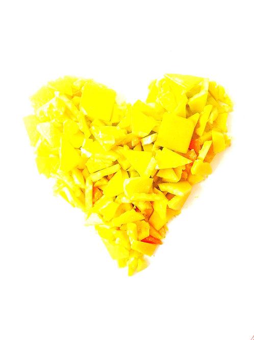 Tesselles de mosaïque, pâte de verre, 135 grs de brisures jaunes