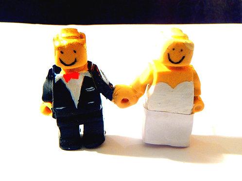 Marque place noir et blanc, petits bonhommes mariage, noir et blanc par saucisse