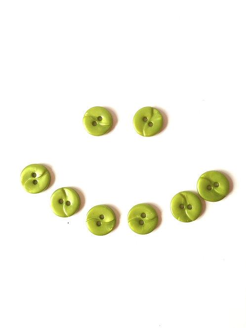 Lot de 8 jolis boutons vintage en résine, VERT nacré, taille 11 mm