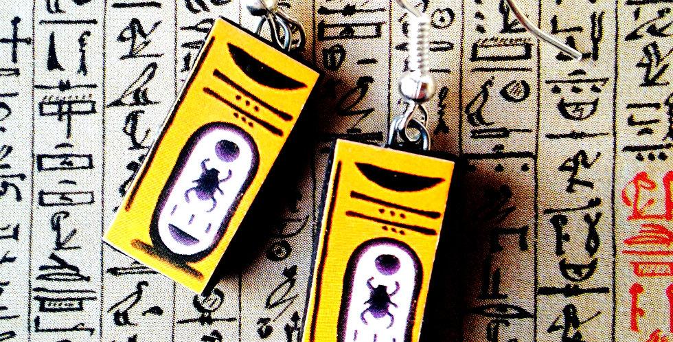 Boucles d'oreilles CARTOUCHE, jaune d'or, hiéroglyphes, Egypte Ancienne