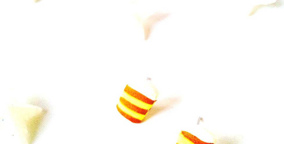 Puces d'oreilles MILLEFEUILLES miniatures, jaune et ocre