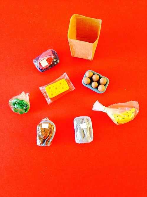 Miniatures pour vitrine, maison de poupée LOT Les courses, shopping supermarché
