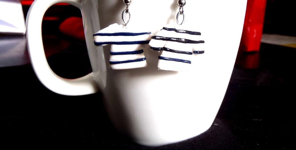 Boucles d'oreilles LES P'TITES MARINIÈRES, rayées bleu marine